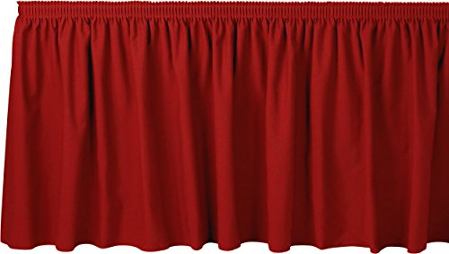 (Bright Settings 14 Foot Shirred Table Skirt w/ 3/4 Inch Hook-and-Loop Fastener Clips, Flame Retardant Basic Polyester, 29 Inch High, Cherry Red)
