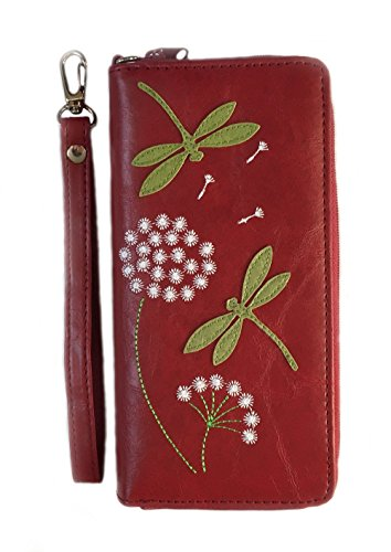 Dragonfly & Flower Applique Vegan Leather Wristlet Wallet (Red) by Lavishy