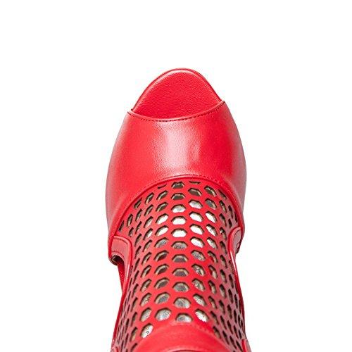 DIU00782 Checkered Urethane Style AN Red Baguette Womens Sandals AqTnYU
