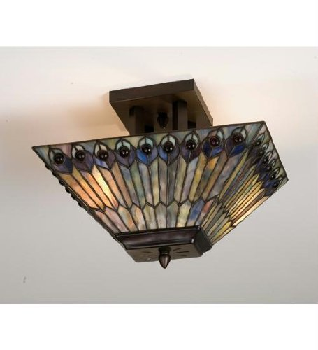 (16 Inch L Jeweled Peacock Oblong Flushmount Ceiling)
