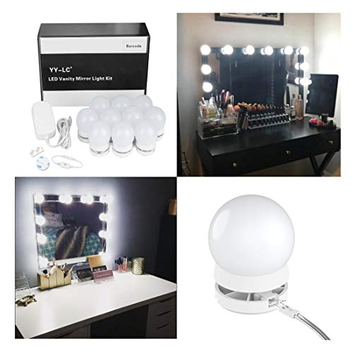 YY-LC LC178 Hollywood Style LED Vanity Mirror Light Bulbs Kit with Dimmer Switch,Power Supply,Can Hide Wires and Replaceable Bulbs,for Makeup Vanity Table Set,10 Light,Mirror Not Included by YY-LC