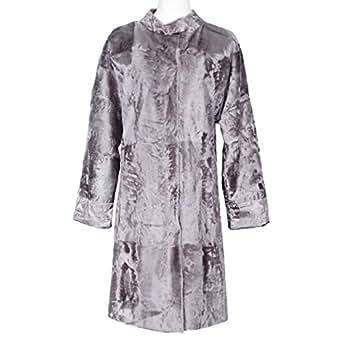 Costa Grey Fur Babydoll Coat For Women