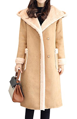 BYWX-Women Hoodie Faux Long Suede Lamb Wool Coat Shearling Jacket Khaki US XL