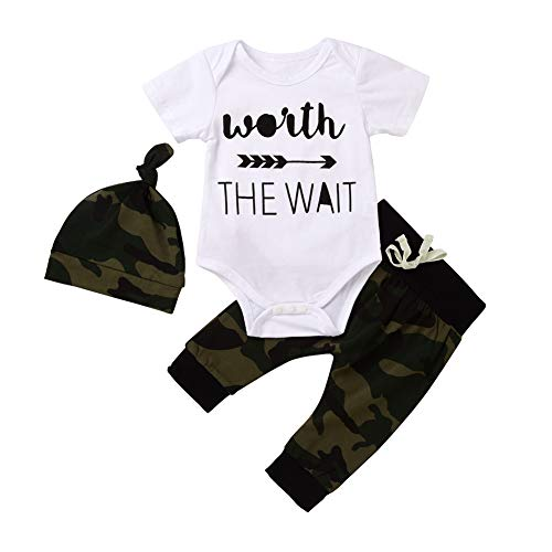 Camo Baby Boy Clothes,Infant Camouflage Short Sleeve Romper Onesie Worth The Wait Newborn Outfit (Camo, 0-6Months)