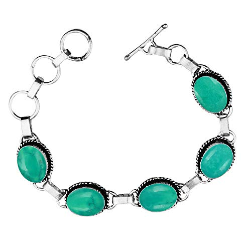 - Genuine Oval Shape Turquoise Link Five Stone Bracelet 925 Silver Plated Handmade Oxidized Finish Vintage Bohemian Style Jewelry for Women Girls