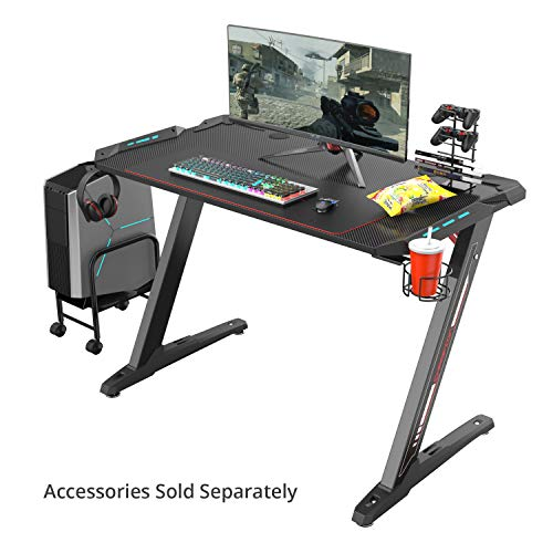 Eureka Ergonomic Z1-S Gaming Computer Desk Gaming Table with LED Lights Raven Black