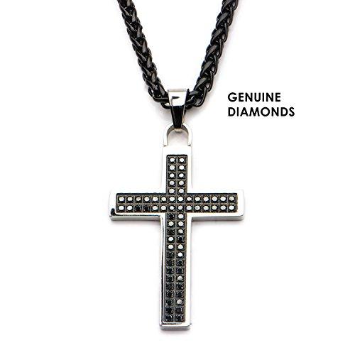 Men's Genuine 66-piece Prong Set Round Black Diamonds Cross Pendant with Black Wheat Chain by Jewelry Brands