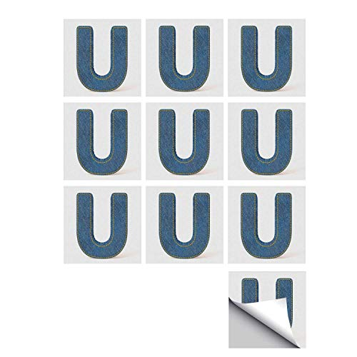(C COABALLA Letter U Stylish Ceramic Tile Stickers 10 Pieces,Denim Letter Alphabet Design with Realistic Looking Fabric Texture Stitches Image Decorative for Kitchen Living Room,5
