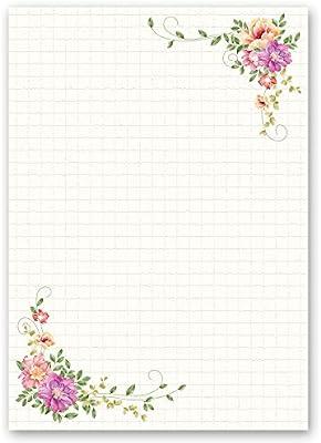 Paper-Media dise/ño de flores Papel para cartas 50 hojas, DIN A4