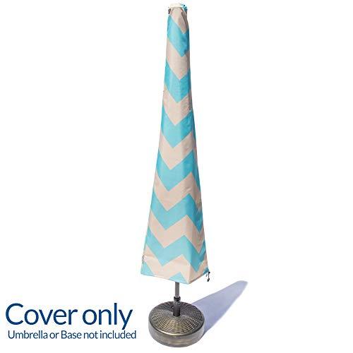 Nest & Nook Patio Umbrella Cover Blue Creme Chevron - Outdoor Waterproof Parasol Umbrella Covers with Zipper for 7 to 11 ft Umbrellas ()