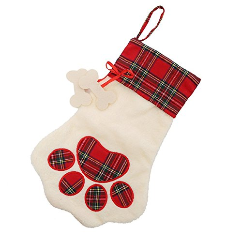 Christmas Long Inches 11 Stocking (Personalize Christmas Stocking For Pet Dog Cat Plaid Pet Paw Large Stocking (Red))
