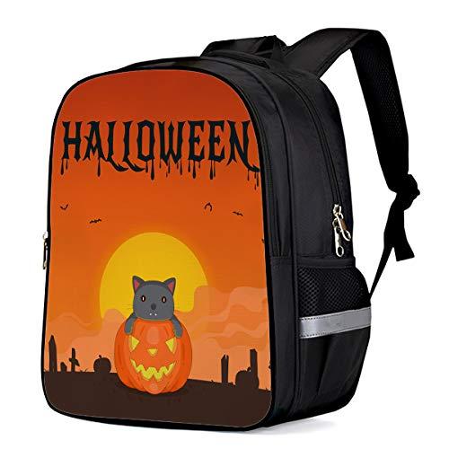 School Backpack for Boys/Girls/Kindergartener Cute Cat on Pumpkin Halloween Moon Night Personalized 3D Printed Kids Shoulders Bag Bookbag Lunch Bag Travel Daypack Large]()