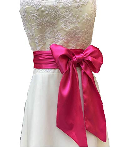 Eyrie Special Occasion Dress sash Bridal Belts Wedding sash 4'' Wide Double Side (Hot Pink)
