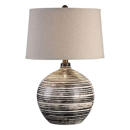 Uttermost 27315-1 Bloxom - One Light Table Lamp, Dark Mocha Bronze Finish with Oatmeal Linen Fabric Shade