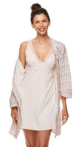 Nanette Lepore Womens Chemise Nightgown and Lounge Robe Pajama Sleep Set Light Rose Medium