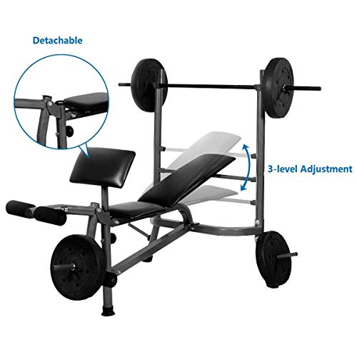 Gymax Standard Weight Bench Heavy Duty Incline Flat Adjustable Body Gym Weight Benches w Leg Developer Dumbbell Bar