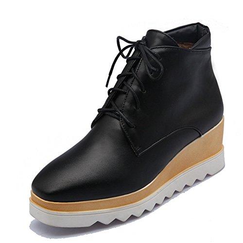 Bottom Square Boots Matching Thick Ladies Leather Color Toe Heel Platform Black Imitated BalaMasa 5HYwq4