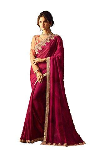 Asmafashion Store Indian Sarees For Women Party Wear Designer Pink Color In Rani Silk by Asmafashion Store