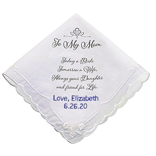 PERSONALIZED Mom Wedding White Cotton Keepsake Hankie by Lillian Rose