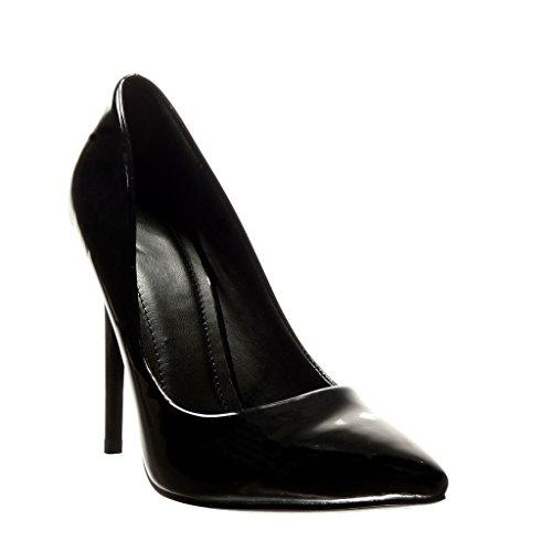 Angkorly - Zapatillas de Moda Tacón escarpín stiletto sexy mujer patentes Talón Tacón de aguja alto 11 CM - Negro