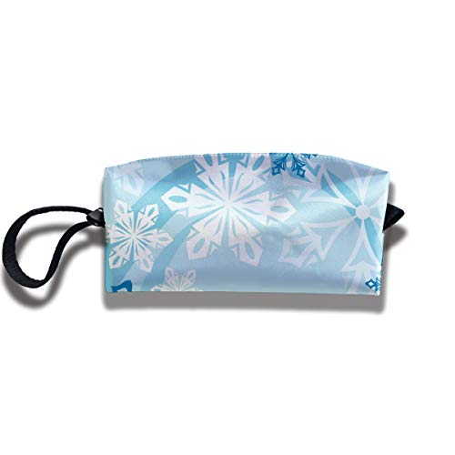 Cosmetic Bags With Zipper Makeup Bag White And Blue Snowflakes Middle Wallet Hangbag Wristlet Holder ()