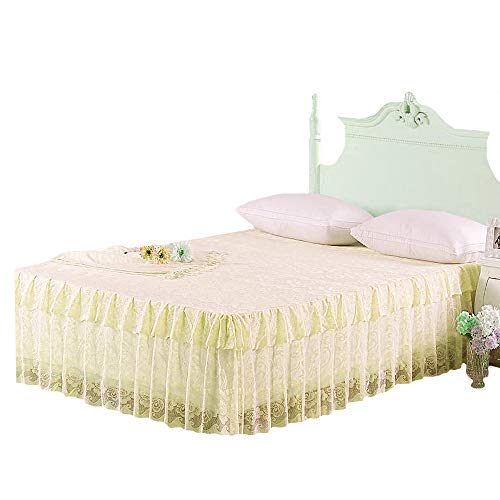 Mily Pleated Dust-Proof Bed Skirt Exquisite Lace Full Wrap Around Bed Skirts Yellow