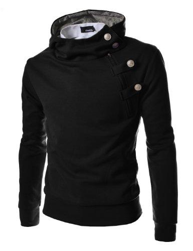 TheLees Men's Luxury Buckle Hooded Slim Sweatshirt