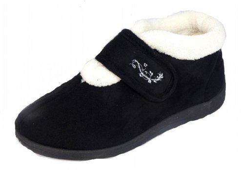 Mujer Dunlop Deloris Forro Polar Corte Ancho Pantuflas Con Velcro negro