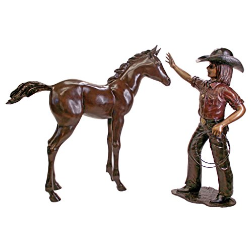 Design Toscano with Horse Cast Bronze Garden Statue Set