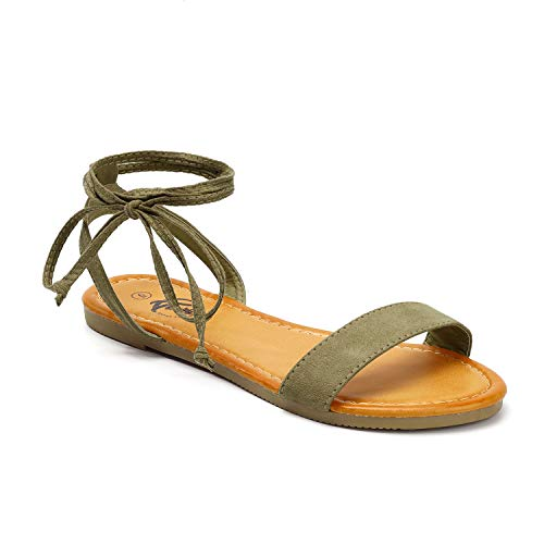 Trary lace up Sandal for Women Khaki Green 095
