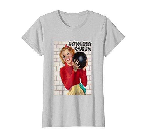 Womens Vintage Retro Womens Bowling Queen T-shirt XL Silver