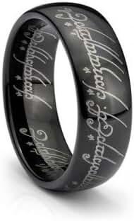 Black IP One Elvish Script Ring Tungsten Carbide Unisex Wedding Ring Band Size 4-15.5- 7mm