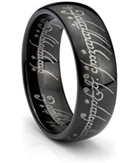 black ip one elvish script ring tungsten carbide unisex wedding ring band size 4 155 - The One Ring Wedding Band