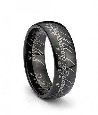 black ip elvish script ring plated tungsten carbide men women laser etched size 4 - The One Ring Wedding Band