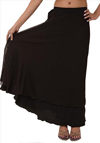 Skirts N Scarves  Beach Long Moss Crepe Evening Wraparound Skirt,Black,One Size Regular