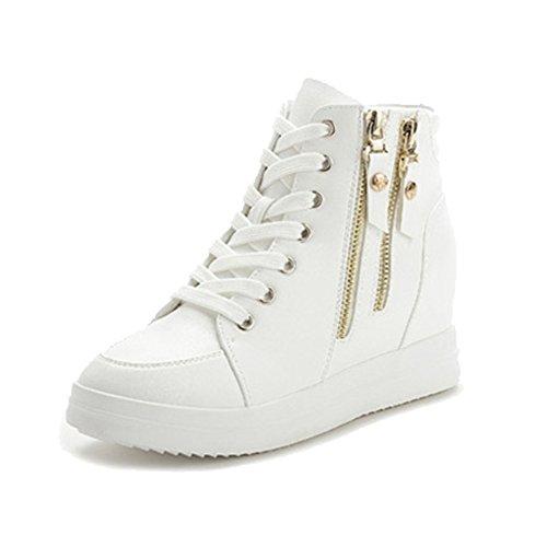 Women's Athletic Sneaker Boot Wedge Hidden Heel Side Zipper High Top Sports Shoes