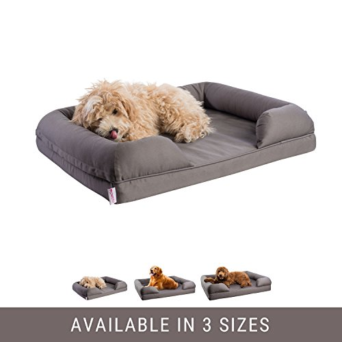 Orthopedic Pet Sofa Bed   Dog  Cat Or Puppy Memory Foam Mattress   Grey Comfortable Couch For Pets With Removable Washable Cover   Small   By Petlo