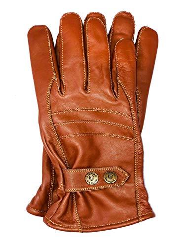 Riparo Men's Insulated Full-Grain Leather Driver Work Glove (Brown, Small)