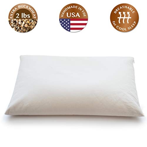 ComfyComfy Buckwheat Hull Pillow, Standard Size (20' x 26'), with Extra 2 lbs of Buckwheat Hulls for...