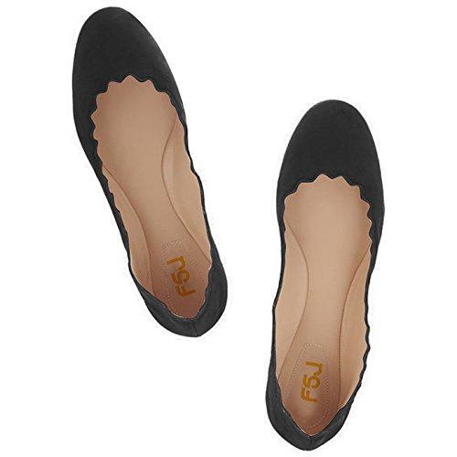 FSJ Women Cute Dress Shoes scalloping Round Toe Suede Ballet Flats For Comfort Size 4-15 US Black for sale online store cheap how much 4TlmGMPq