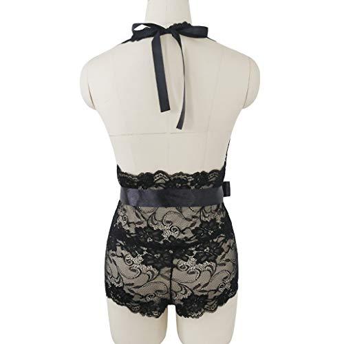 Women's Sexy Lingerie Teddy Lace Underwear Bodysuit Deep-V Belt Backless Sleepwear Black by ZyrunaeL (Image #4)