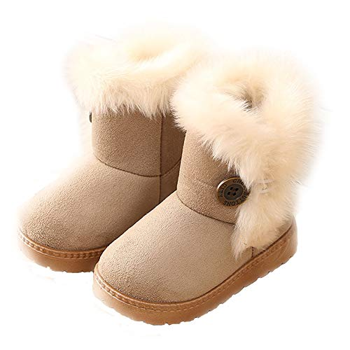 Blue Line Girls Boots, Snow Boot Warm Winter Cotton Waterpoof Outdoor Snow Boots (Toddler/Little Kids) DTX05,Beige,28 -