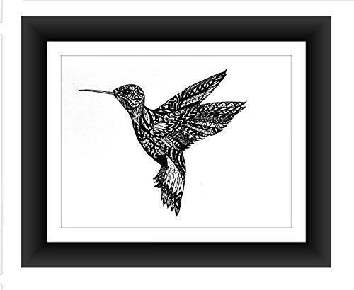 Hummingbird Poster Art Print Zentangle Pen and Home D?cor Artwork Wall