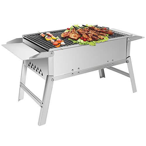Sunjas Edelstahl Holzkohlegrill, Klappgrill Outdoor BBQ Grills, Portable Campinggrill – DREI Größen (55 x 26 x 32 cm)