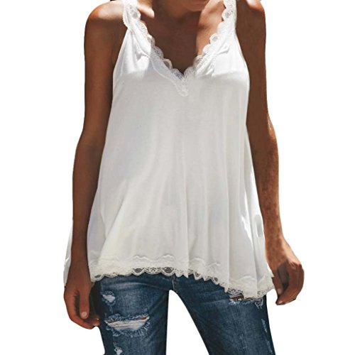 Silk Print Vest (YOcheerful Womens Sexy Lace Vest Camisole Lady Sleeveless T-Shirt Tee Top Blouse (White,M))
