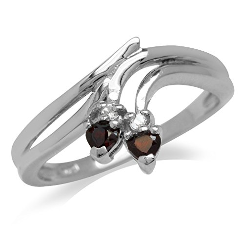 Garnet & White Topaz Gold Plated 925 Sterling Silver Bypass (White Topaz Bypass Ring)