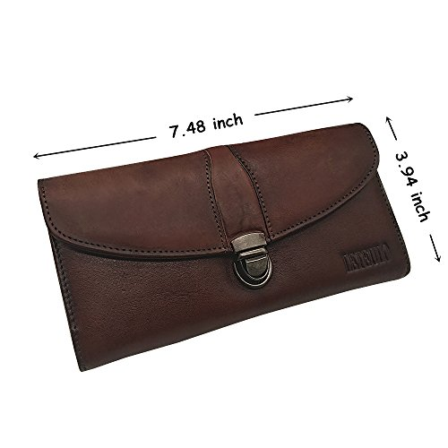 Wallet Large Capacity Coffee Genuine Dip Card Handmade Dye Ladies Holder Women's Leather Purse 468nqE5A