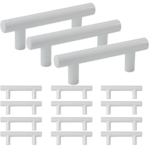 15 Pack-2-1/2 Inch Hole Centers White Cabinet Pulls Modern Stainless Steel Euro Round T Bar Pulls Drawer Dresser Handles Furniture Cabinet Pulls-4