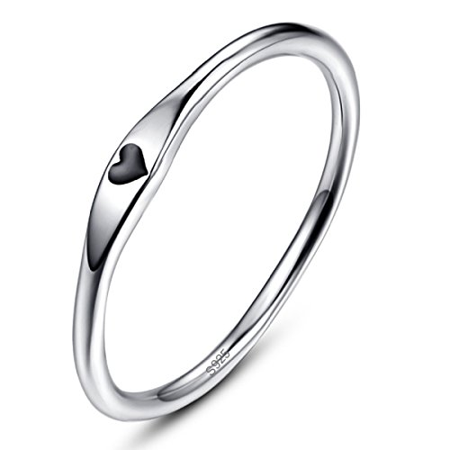 AVECON Women's Solid 925 Sterling Silver Heart Shape Design High Polish Anniversary Band Ring Size 7