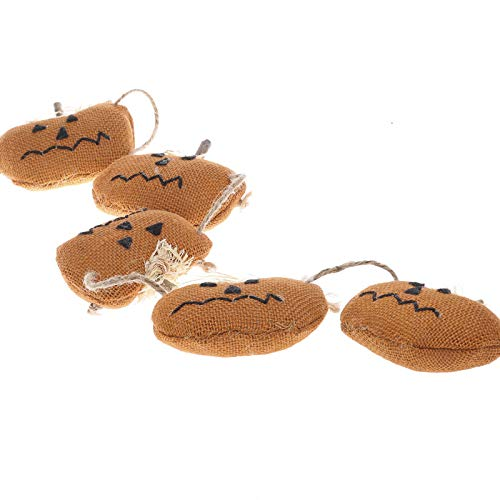Factory Direct Craft Rustic Orange Burlap Halloween Jack O Lantern Pumpkin Garland